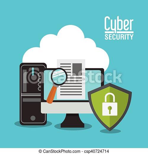 segurança, computador, desenho, sistema, cyber - csp40724714