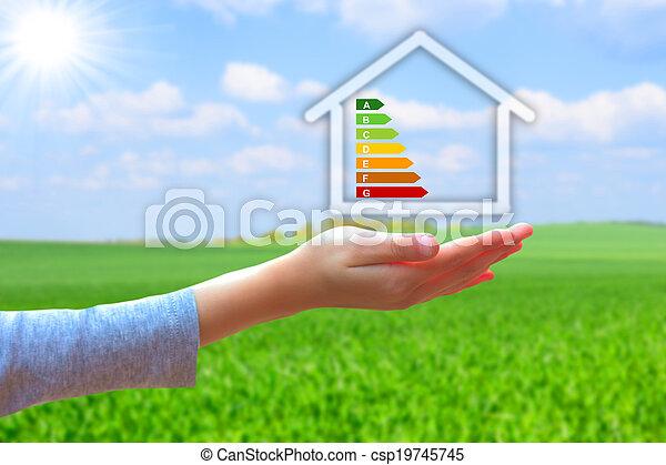 segurando, casa, energia, eficiência, avaliação, mãos - csp19745745