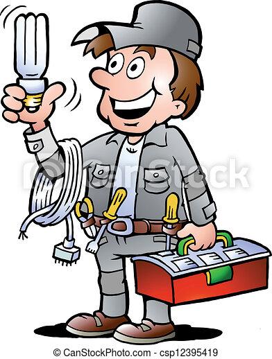 segurando, handyman, bulbo - csp12395419