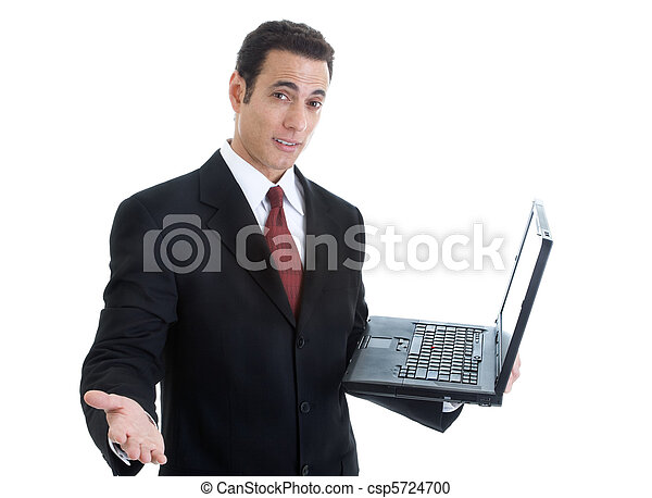 segurando, laptop, isolado, fundo, homem negócios, gesticule, branca - csp5724700