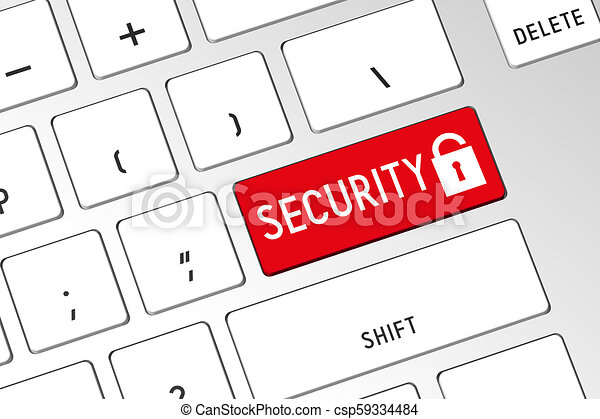 Seguridad - teclado de computadora 3D - csp59334484