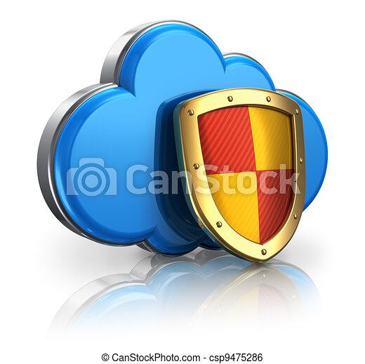 El concepto de seguridad de las nubes - csp9475286