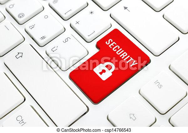 Concepto de acceso a Internet de seguridad, botón rojo de entrada o clave en teclado blanco - csp14766543
