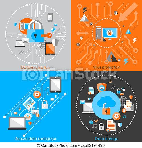 El concepto de seguridad de datos - csp22194490