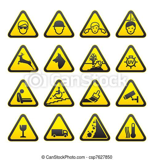 seguridad, conjunto, señales alerta - csp7627850