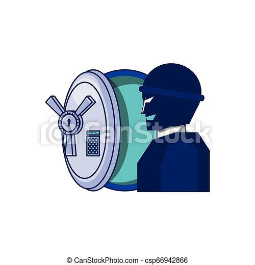 Ladrón con caja de seguridad segura - csp66942866