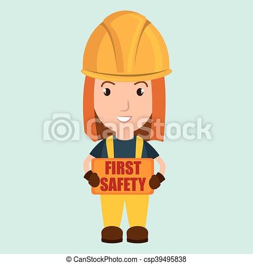 Primer icono trabajador de seguridad - csp39495838