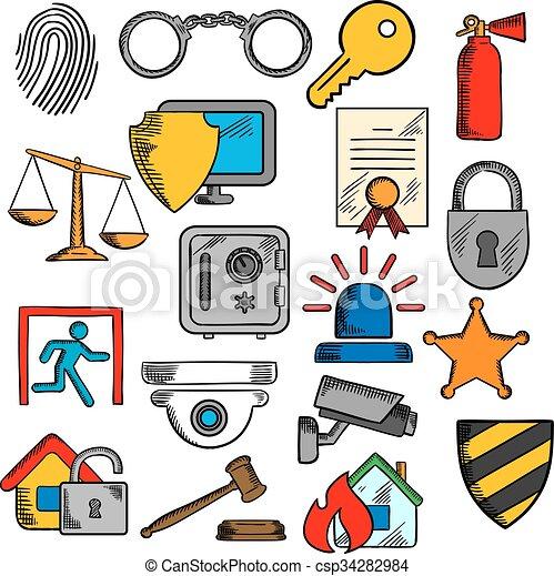 a1589529 Seguridad, seguridad, protección, iconos. Conjunto, seguro ...