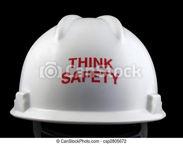 seguridad, sombrero duro, pensar - csp2805672