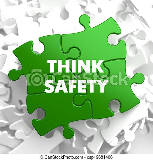 seguridad, verde, pensar, puzzle. - csp19681406