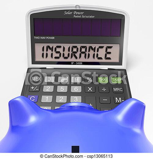 La calculadora de seguros muestra protección a través de la política segura - csp13065113