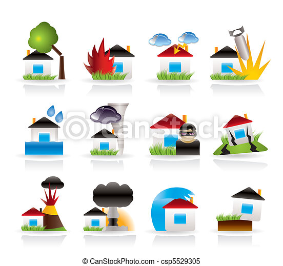 Seguro de casa y casa y riesgo de riesgo - csp5529305