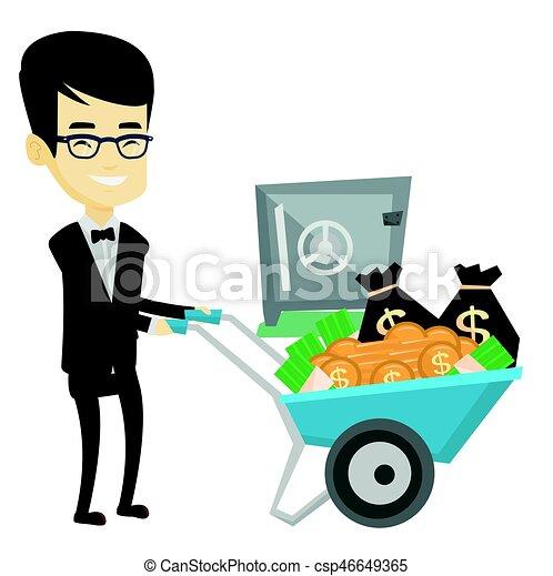 Hombre de negocios depositando dinero en un banco seguro. - csp46649365