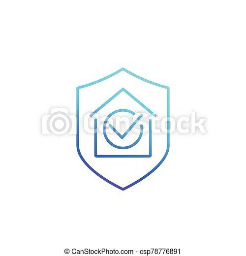 seguro, icono, casa, línea - csp78776891