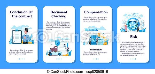 seguro negocio, móvil, aplicación, bandera, set., underwriter - csp82050916