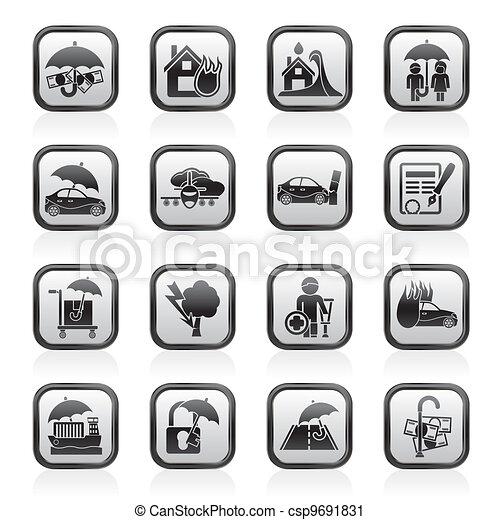 Seguros y iconos de riesgo - csp9691831