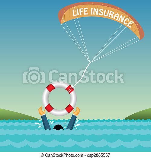 Hombre ahogado apoyado por tubo, paracaídas, seguro - csp2885557