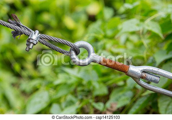 Seil, leitung clip, turnbuckle. Klammer, draht, altes , klammer ...
