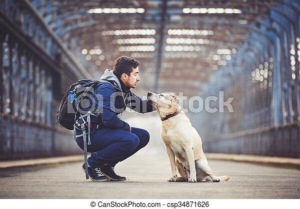 seine, hund, mann - csp34871626