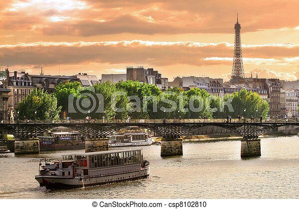 seine, paris, france., bateau croisière, rivière - csp8102810
