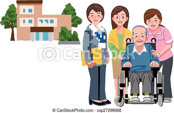 Er lächelte im Rollstuhl mit seiner Tochter - csp27298668