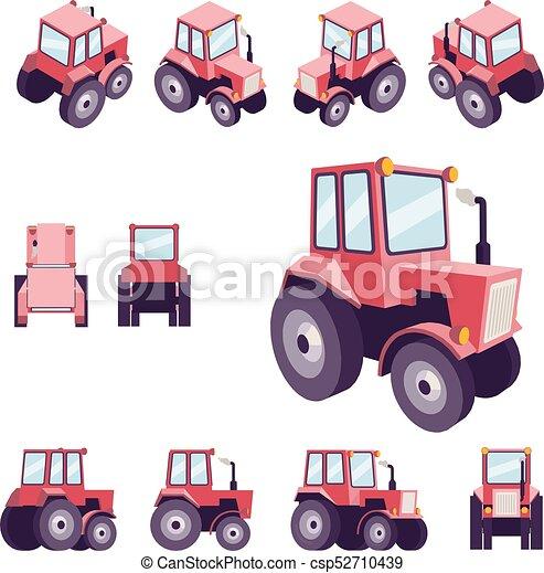Seite Poly Traktor Oberseite Style Verschieden Ruckseite
