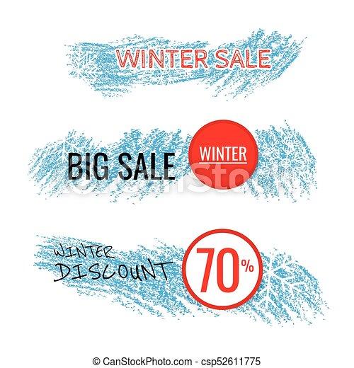 seizoenen, blauwe , set, winter, korting, marketing, etiketten, verkoop, teksten, vector, achtergrond., achtergrond, bevordering, spandoek, witte , illustration. - csp52611775