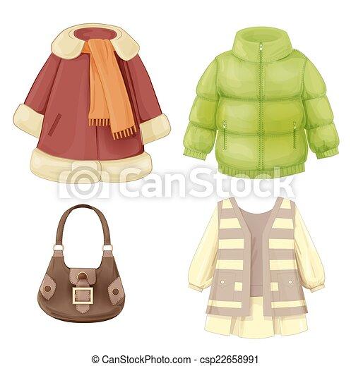 seizoenen, jurkje, set, jas, gestoffeerd, girls., anorak, kleren - csp22658991