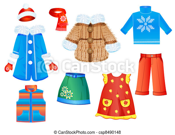 seizoenen, set, meiden, kleren - csp8490148