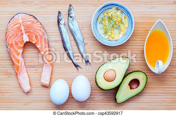 selección, alimento, grasas, fuentes, 3, omega, no saturado - csp43592917