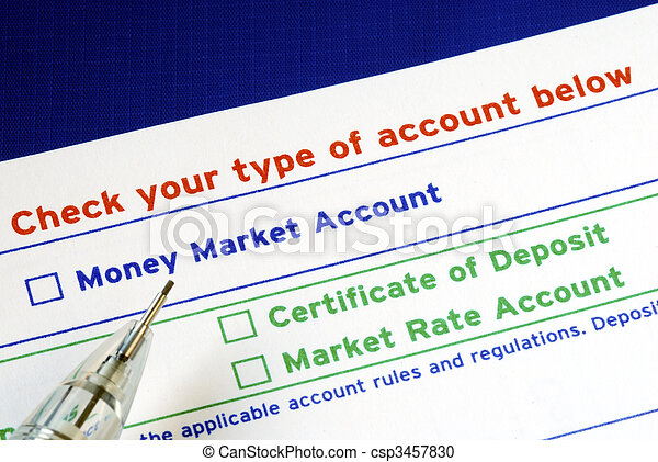 Select your bank account in the deposit slip - csp3457830