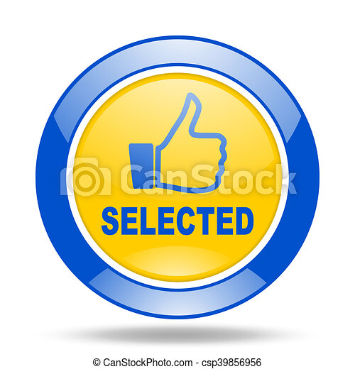 selected blue and yellow web glossy round icon - csp39856956
