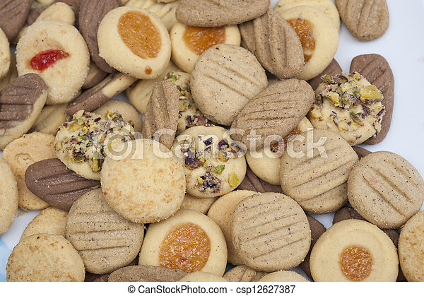 Selection of biscuits on a plate - csp12627387