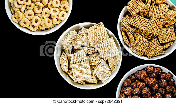 Selection of Bowls of Healthy Eating Breakfast Cereal - csp72842391