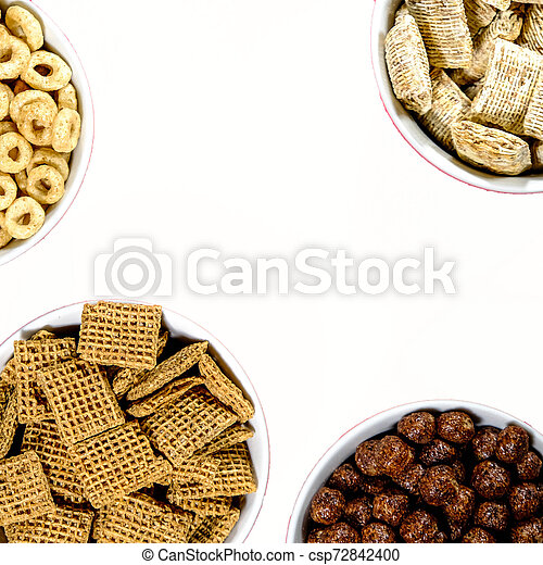 Selection of Bowls of Healthy Eating Breakfast Cereal - csp72842400