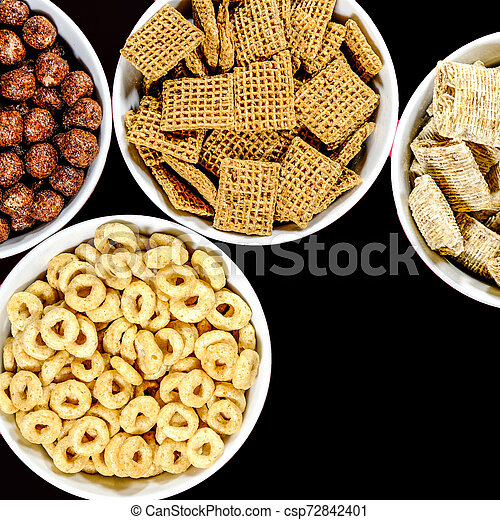Selection of Bowls of Healthy Eating Breakfast Cereal - csp72842401