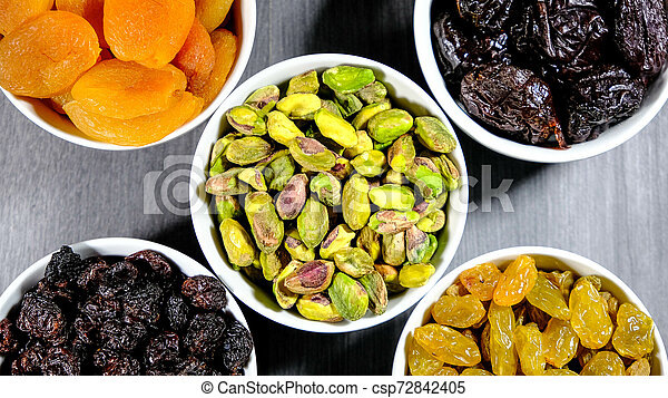 Selection of Healthy Fruit and Nut Snacks - csp72842405