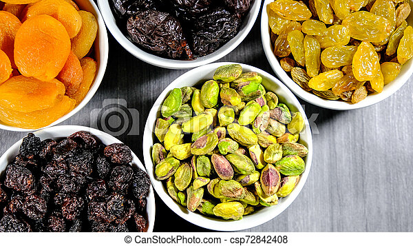 Selection of Healthy Fruit and Nut Snacks - csp72842408