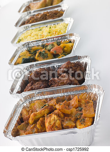 Selection Of Indian Take Away Dishes In Foil Containers - csp1725992