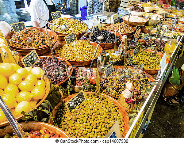 selection of olives in a market - csp14607332