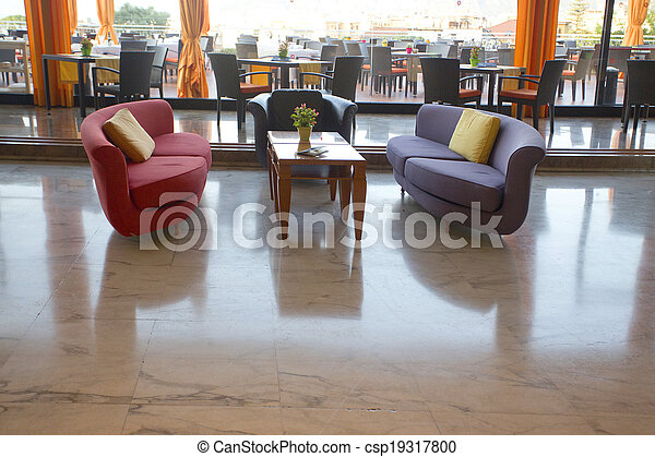 Selection Of Sofas In A Hotel Lobby   Csp19317800