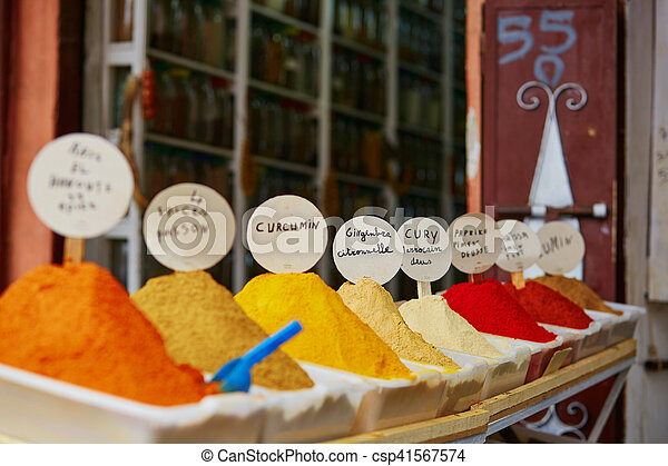 Selection of spices on a traditional Moroccan market in Marrakech, Morocco - csp41567574