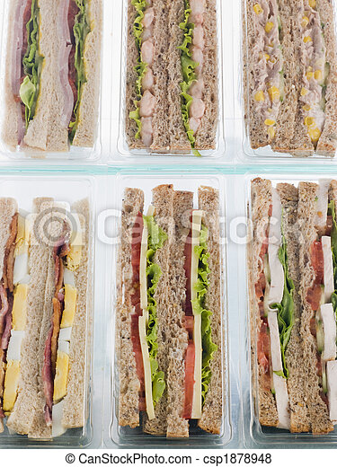 Selection Of Take Away Sandwiches In Plastic Triangles - csp1878948