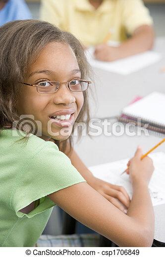 (selective, focus), klassificera, student, skrift - csp1706849