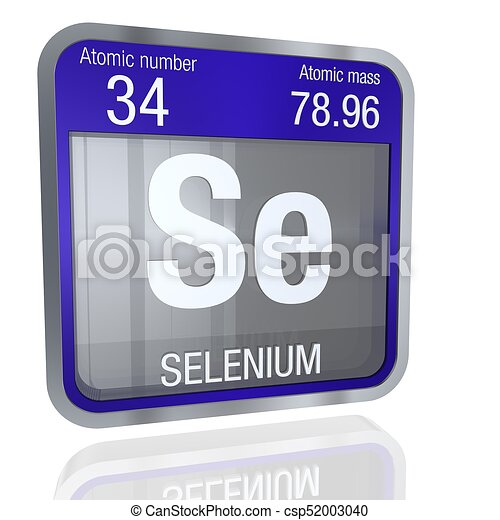 Selenium Symbol In Square Shape With Metallic Border And Drawing