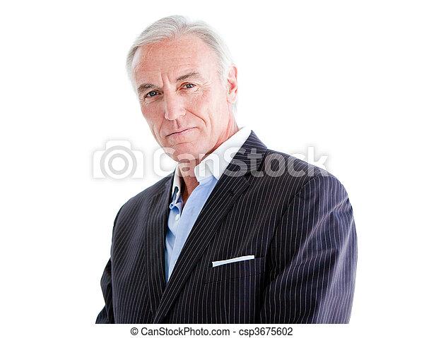 Self-assured senior businessman standing - csp3675602