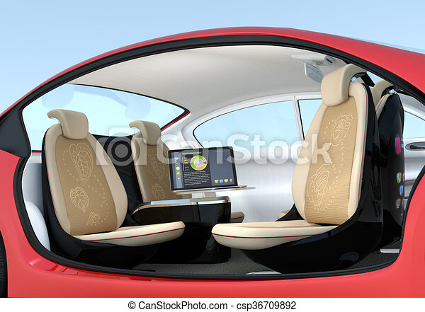 self driving car interior concept driver seats could turned stock illustration search. Black Bedroom Furniture Sets. Home Design Ideas