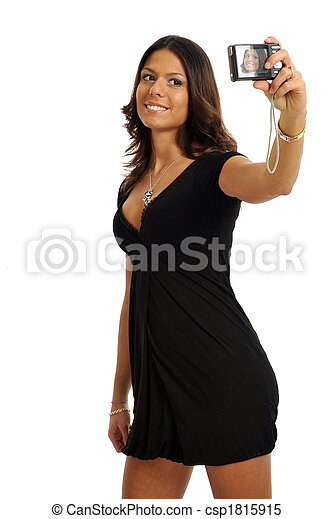 Free self shot pictures Self Portrait Half Body View Of Elegant Woman Taking A Self Shot Isolated On White Background Canstock
