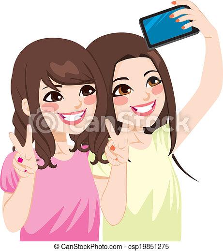 selfie, amis, asiatique - csp19851275
