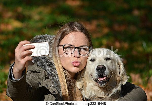 selfie, chien - csp33319448